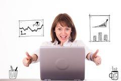 Vrouw in bureauwinnaar Stock Foto