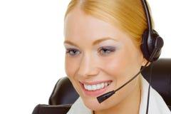 Vrouw in call centre Stock Afbeeldingen