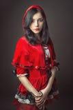 Vrouw in Carnaval kostuum Sexy Weinig het Rode Berijden Stock Fotografie