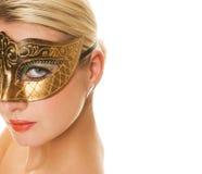 Vrouw in Carnaval masker royalty-vrije stock afbeeldingen