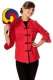 Vrouw in Chinese kleding op manierweek in Parijs Royalty-vrije Stock Foto