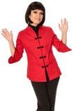 Vrouw in Chinese kleding op manierweek in Parijs stock afbeeldingen