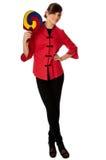 Vrouw in Chinese kleding op manierweek in Parijs royalty-vrije stock afbeeldingen