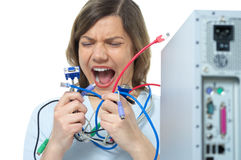 Vrouw, computer, kabel, reparatie Royalty-vrije Stock Foto's