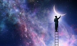 Vrouw dat maan krijgt Gemengde media royalty-vrije stock afbeelding