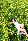Vrouw in de bloemen Stock Foto