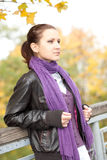 Vrouw in de herfstpark Stock Afbeeldingen