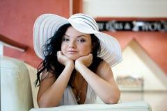 Vrouw in de Hoed Stock Foto