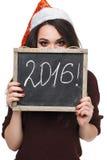 Vrouw in de holdingskaart van de Kerstmanhoed met woord van 2016 Stock Afbeelding