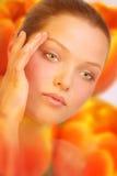 Vrouw. De huid van de bloem. Royalty-vrije Stock Foto