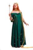 Vrouw in de kleding van koningin Royalty-vrije Stock Foto's