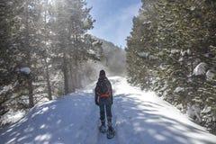 Vrouw de komst neer uit de schuilplaats van 'komt DE Rubià ³ 'in de winter met sneeuwschoenen stock foto
