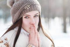 Vrouw in de koude zonnige winter Stock Afbeeldingen