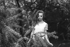 Vrouw in de lentebloesem Jonge natuurlijk mooie vrouw dichtbij Th stock fotografie
