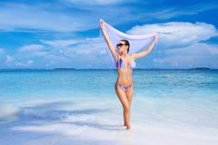 Vrouw in de Maldiven Royalty-vrije Stock Afbeelding