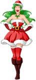 Vrouw in de Sexy Kleren van de Kerstman voor Kerstmis 2 Royalty-vrije Stock Afbeelding