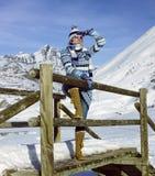 Vrouw in de winter Stock Foto's