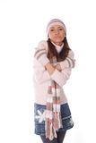 vrouw in de winterhoed en kleren Royalty-vrije Stock Afbeelding