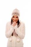 Vrouw in de winterkleding Stock Foto
