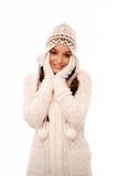 Vrouw in de winterkleding Royalty-vrije Stock Afbeeldingen