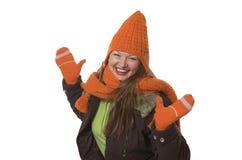 Vrouw in de winterkleren Stock Foto's