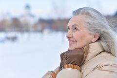 vrouw in de winterkleren het stellen stock foto's