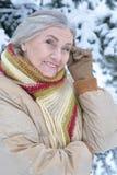 vrouw in de winterkleren het stellen stock fotografie