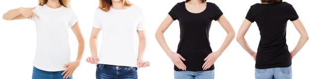 Vrouw in de Witte en Zwarte T-shirt Geïsoleerde Front And Rear Views Cropped-Opties van de beeld Lege T-shirt, Meisje in T-shirtr royalty-vrije stock afbeelding