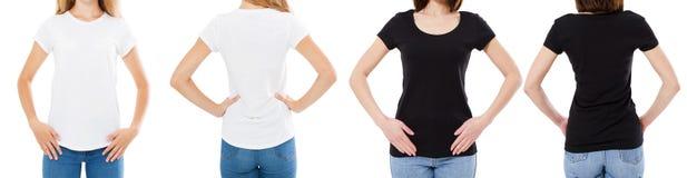 Vrouw in de Witte en Zwarte T-shirt Geïsoleerde Front And Rear Views Cropped-Opties van de beeld Lege T-shirt, Meisje in T-shirtr royalty-vrije stock fotografie