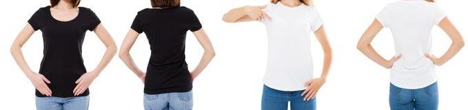 Vrouw in de Witte en Zwarte T-shirt Geïsoleerde Front And Rear Views Cropped-Opties van de beeld Lege T-shirt, Meisje in T-shirtr stock afbeeldingen