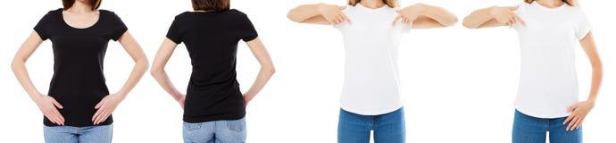 Vrouw in de Witte en Zwarte T-shirt Geïsoleerde Front And Rear Views Cropped-Opties van de beeld Lege T-shirt, Meisje in T-shirtr royalty-vrije stock foto