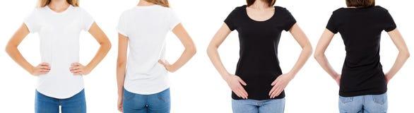 Vrouw in de Witte en Zwarte T-shirt Geïsoleerde Front And Rear Views Cropped-Opties van de beeld Lege T-shirt, Meisje in T-shirtr stock foto