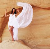 Vrouw in de woestijn Stock Foto's