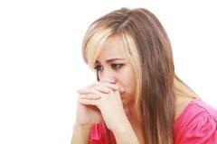 Vrouw in depressie. stock afbeelding