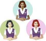 Vrouw in deskundige van de de dienst de eenvormige steun Stock Afbeeldingen