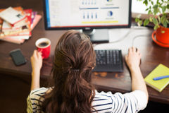 Vrouw die aan computer thuis werkt Stock Afbeeldingen