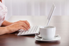 Vrouw die aan Computer werkt Royalty-vrije Stock Fotografie