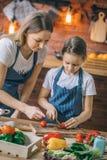 Vrouw die aan dochter met tomaten helpen stock afbeeldingen