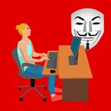 Vrouw die aan haar laptop door de bureauillustratie werken op witte achtergrond Royalty-vrije Stock Afbeelding