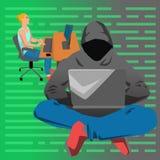 Vrouw die aan haar laptop door de bureauillustratie werken op witte achtergrond Stock Foto's