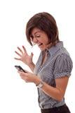 Vrouw die aan mobiel schreeuwt Stock Foto's