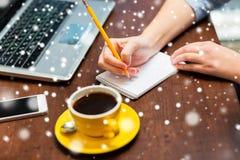 Vrouw die aan notitieboekje met potlood schrijven Royalty-vrije Stock Afbeelding