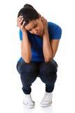 Vrouw die aan spanning en problemen lijden stock fotografie