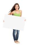 Vrouw die aanplakbordteken toont Royalty-vrije Stock Fotografie