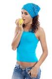 Vrouw die appel eet Royalty-vrije Stock Afbeeldingen
