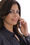 Vrouw die bedrijfsvraag neemt upclose Stock Foto's