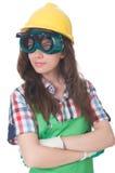 Vrouw die Beschermende brillen draagt Royalty-vrije Stock Afbeeldingen