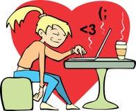 Vrouw die bij computer flirt. Stock Fotografie