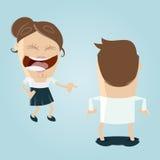 Vrouw die bij de mens met gelaten vallen broek lachen Stock Fotografie
