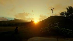 Vrouw die bij het kruis van Jesus tegen mooie zonsopgang, het filteren bidden stock illustratie